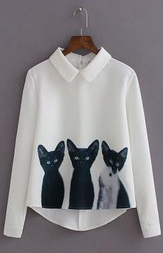 Three Cats Flower Print Turn-down Collar Pullover Blouse - Meet Yours Fashion - 1
