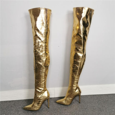 Party PU Gold Point Toe High Heel Over Knee Boots
