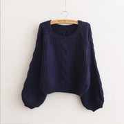 Cable Sleeve Coarse Yam Pure Color Pullover Sweater - Meet Yours Fashion - 9