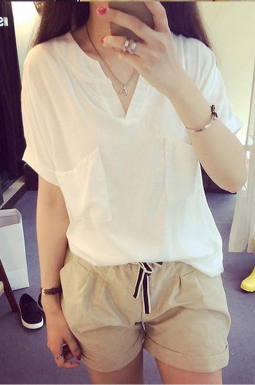 V-neck Short Sleeves Casual Plus Size Pure Color Blouse - Meet Yours Fashion - 1