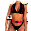 Zipper O Neck Buckle Thong Bottom Bikinis
