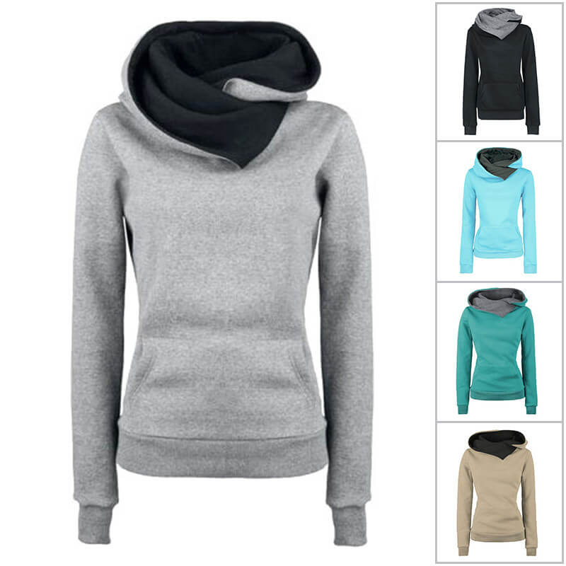 Winter Pullover Scarf Pockets Hoodies