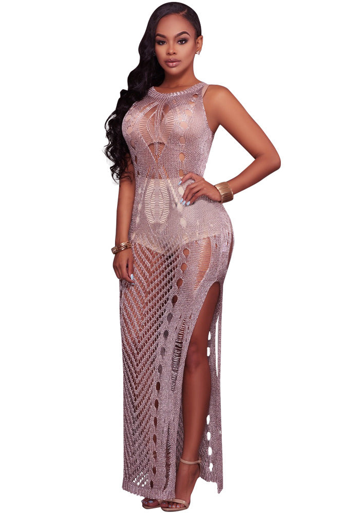 Bear Shoulder Transparent Hollow Out Long Party Dress – MeetYoursFashion