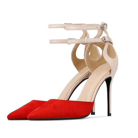Summer Color Block Pointed Toe High Heel Sandals