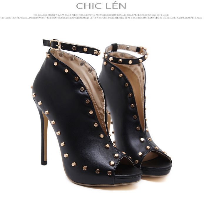 Rivets Ankle Strap PU Stiletto Heel Peep-toe High Heel Sandals