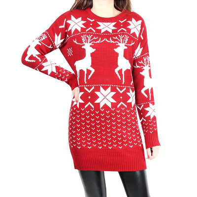 Christmas Tight Reindeer Sweater Dress