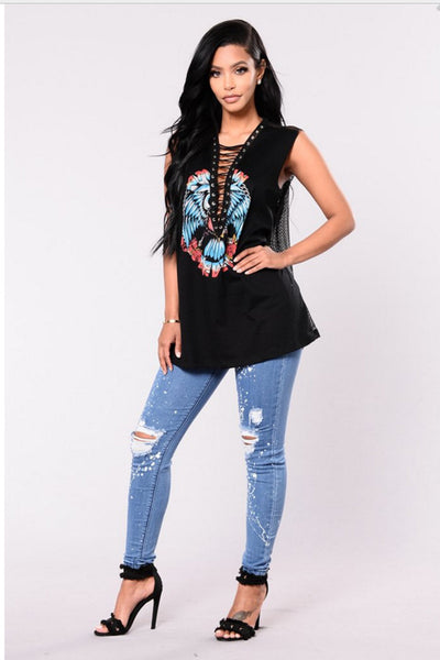Middle Waist Print Cut Out Rough Holes Long Skinny Pants