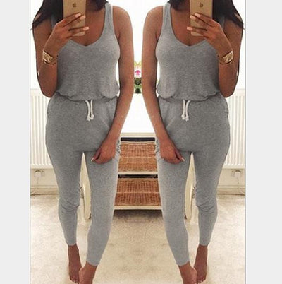 Drawstring Sleeveless Scoop Pure Color Slim Long Jumpsuit - Meet Yours Fashion - 2