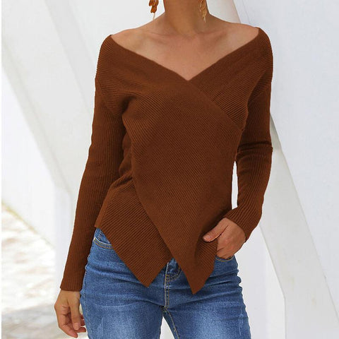V Neck Patchwork Asymmetric Knit Sweater