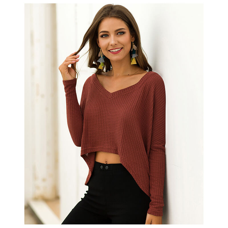 V-neck Irregular Loose Blouse