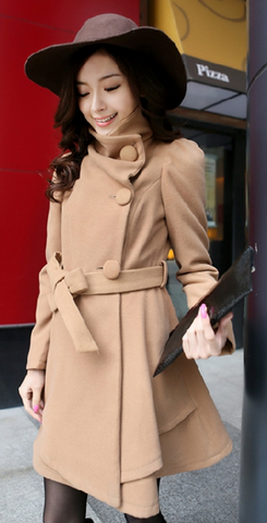 Stand Collar Belt Solid Cope Long Slim Coat - Meet Yours Fashion - 5