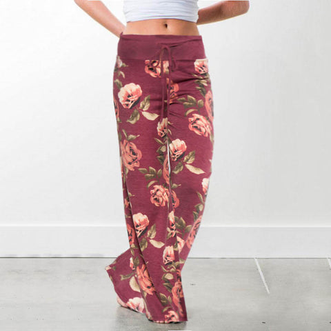 Wide Leg Loose Plus Size Print Low Waist Beach Pants