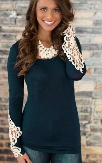 Lace Patchwork Scoop Sheath Fashion Pure Color Blouse - Meet Yours Fashion - 2