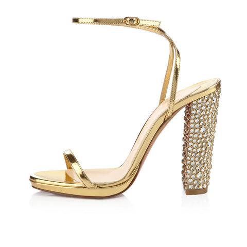Summer Gold Leather Rhinestone Buckle Chunky Heel Sandals