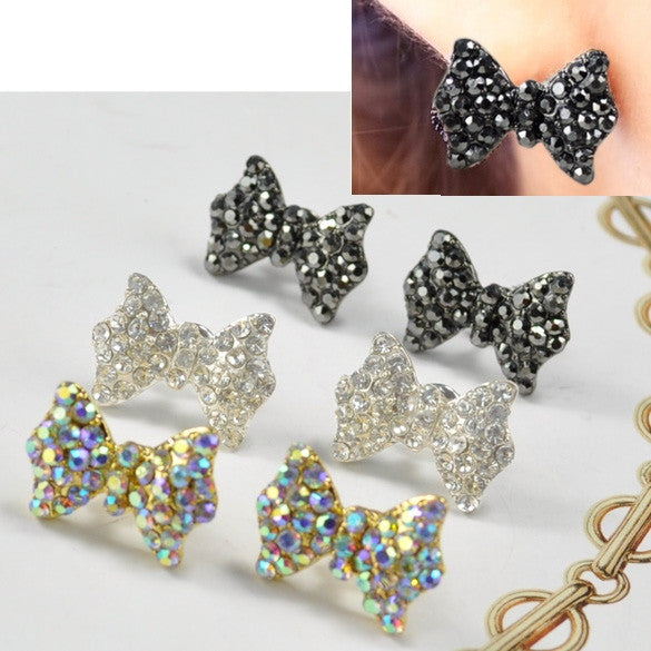 Lovely Cute Rhinestone Crystal Bowknot Bow Tie Earrings Earring