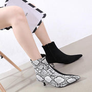 Snakeskin Color Block Pointed Toe High Heel Ankle Boots