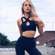 Bandage Crop Top High Waist Skinny Pants Women Two Pieces Yoga Sports Set