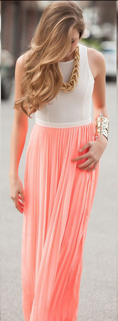 Chiffon Scoop Sleeveless Backless Long Dress