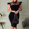 Elegant Black Mesh Patchwork Bodycon Pencil Dress