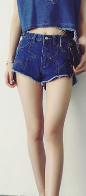 Star Patchwork Loose Rough Edges High Waist Denim Shorts