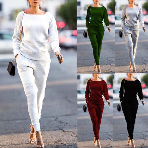 Solid Color Loose Top with Long Loose Pants Women Two Pieces Set