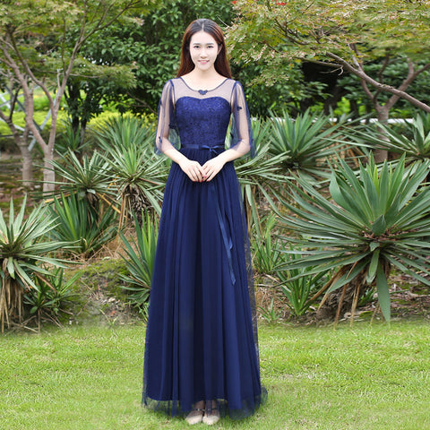 Solid Color High Waist Half Sleeves Lace Patchwork Women Long Pleated Bridesmaid Party Dress