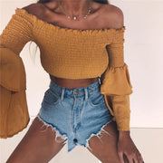 Ruffle Off Shoulder Pure Color Long Trumpet Sleeves Women Short Crop Top