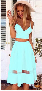 Spaghetti Strap Patchwork Crop Top with Long Skirt Two-piece Dress - MeetYoursFashion - 5