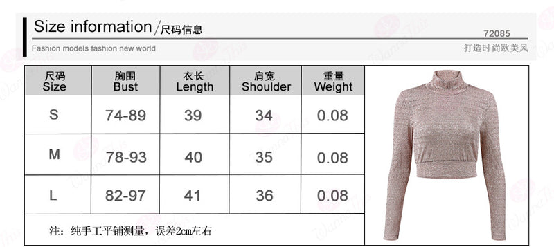 Transparent High Neck Pure Color Long Sleeves Crop Top