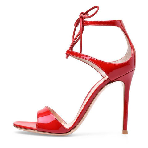 Summer Red Patent Leather Strap Open Toe High Heel Sandals