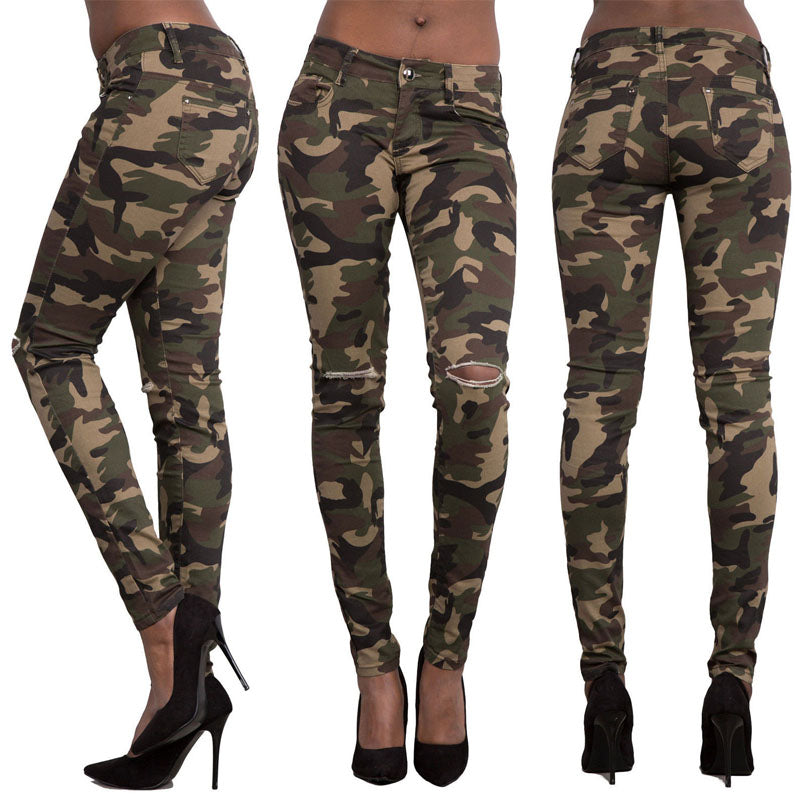 Camouflage Holes Slim-Fit Skinny Pocket Pants
