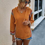 Loose Knitted Hooded Drawing Sweater