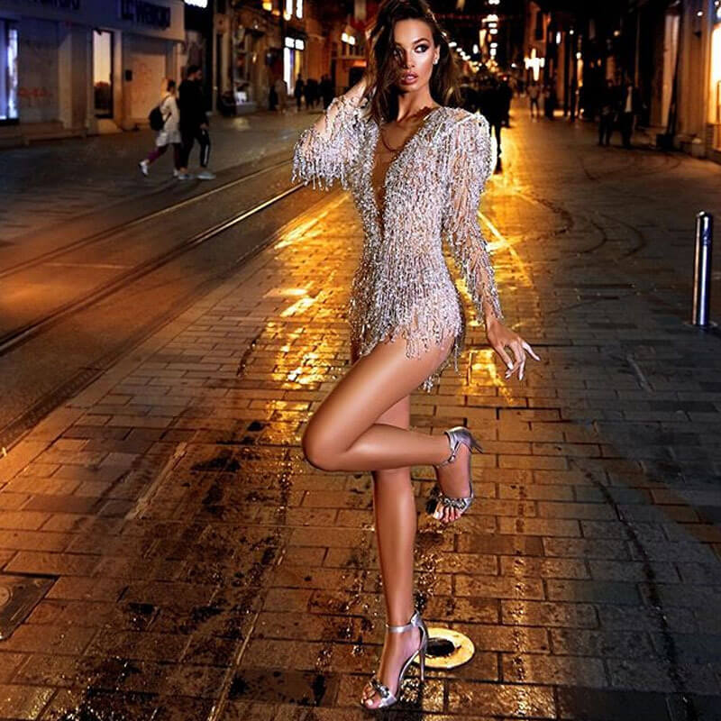 Party Sequin Long Sleeve V Neck Mini Dress