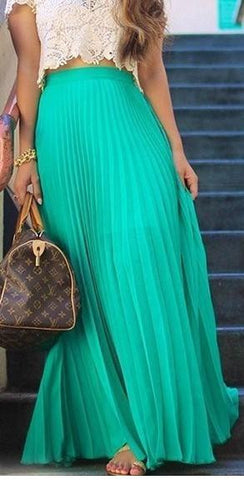 Pure Color Chiffon Pleated Big Long Skirt - Meet Yours Fashion - 1