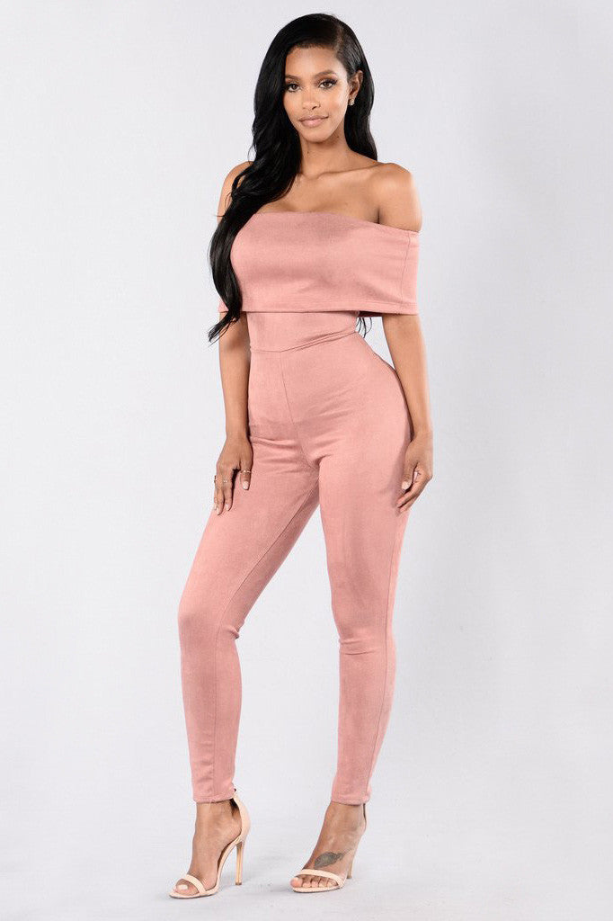Candy Color Off Shoulder Short Sleeves Short Skinny Jumpsuit