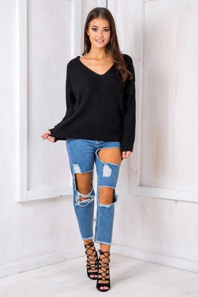 Back Cross Pure Color Long Sleeves V-neck Sweater