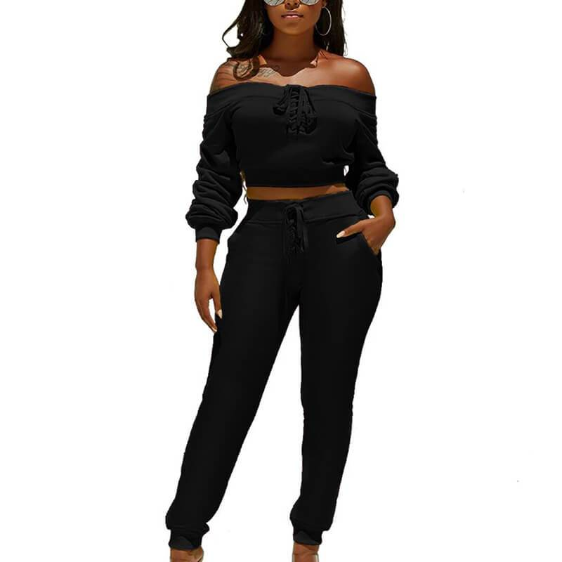 Off Shoulder Crop Top Straps Skinny Pants Set