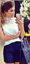 Lace High Neck Sleeveless Backless Slim Blouse - Meet Yours Fashion - 1