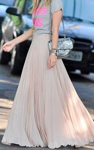 Pure Color Chiffon Pleated Big Long Skirt - Meet Yours Fashion - 5