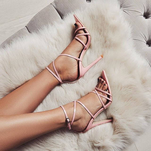 Fashion Leather Pointed Toe Ankle Strap Sandals
