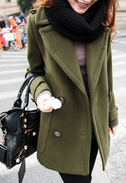 Double Breasted Lapel Solid Long Thick Coat - Meet Yours Fashion - 1