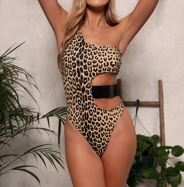 One Shoulder Print Cutout High Cut Swimsuit