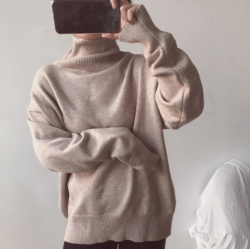 High Neck Turtleneck Loose Long Sleeves Women Pullover Sweater