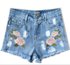 Slim High Waist Rough Edges Tassel 3D Embroidery Plus Size Shorts - Meet Yours Fashion - 4