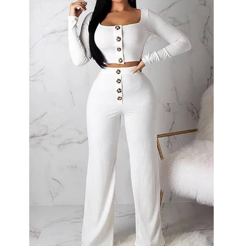 Button Crop Top Long High Waist Pencil Pants Set