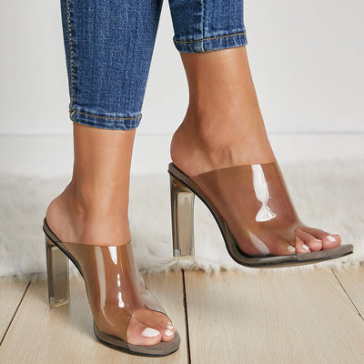 Leather Chunky High Heel See-Through Sandals