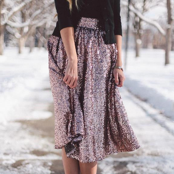 Sequin High Waist Flared Fashion Middle Skirt - Meet Yours Fashion - 2