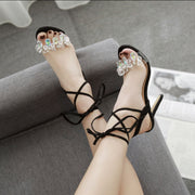 Diamond Open Toe Ankle Straps Stiletto High Heel Sandals