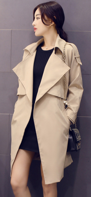 Solid Lapel Pockets Slim Long Coat - Meet Yours Fashion - 1