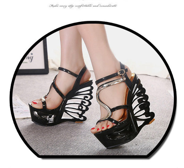 Sexy Hollow Out Platform High Wedge Sandals Club Shoes - MeetYoursFashion - 7